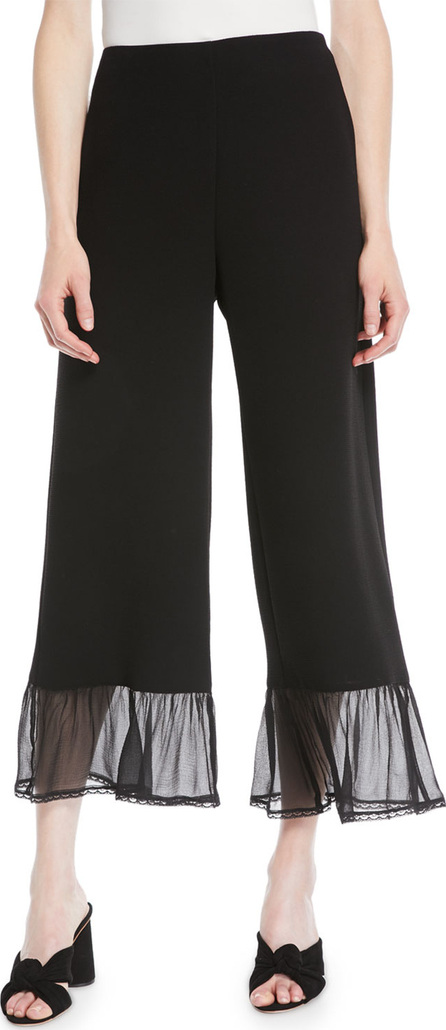 See By Chloé Wide-Leg Crepe Ankle Pants w/ Ruffle Bottom