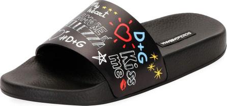 Dolce & Gabbana Graffiti-Print Leather Pool Slide Sandal