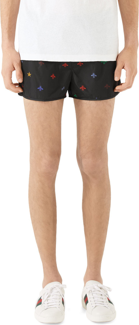 Gucci Men's Signature Bee-Embroidered Short Swim Trunks