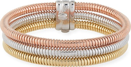 Alberto Milani Tubogas 18k Gold Tricolor Stacked Bracelet w/ Diamonds