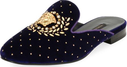 Versace Icon Medusa Velvet Loafer Mule Flat
