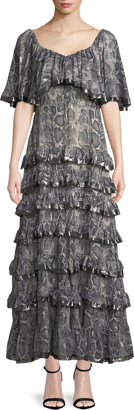 Rebecca Taylor Tiered Snake-Print Ruffle Maxi Dress