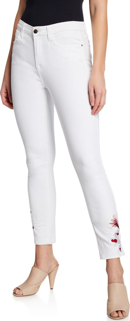 Jen7 Mid-Rise Ankle Skinny Jeans w/ Lily Embroidery