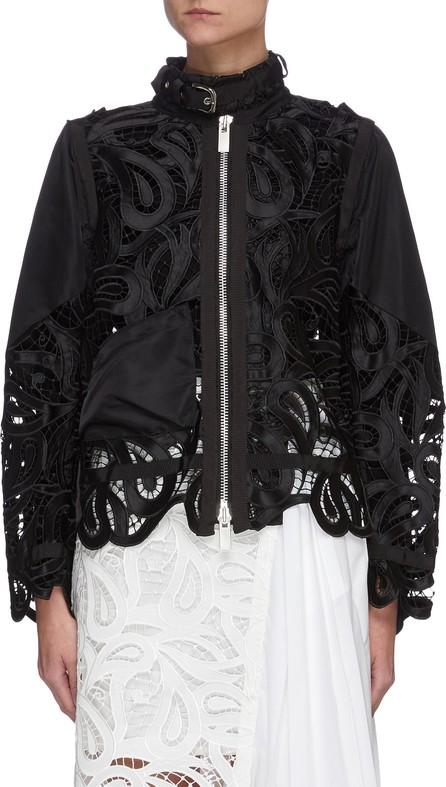 Sacai Paisley lace buckle neck panel jacket