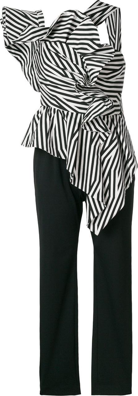 Asymmetric striped ruffle top