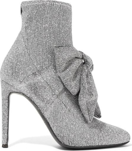 Giuseppe Zanotti Natalie bow-embellished glittered stretch-knit sock boots