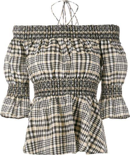Ganni Charron check off-shoulder blouse