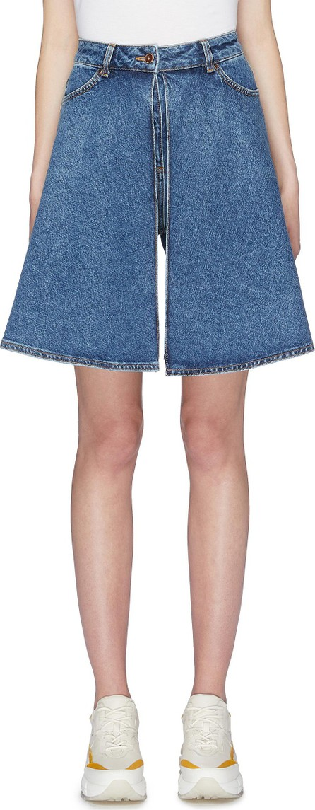 Aalto Pleated flap panel flared denim shorts