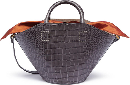Trademark Detachable insert small croc embossed leather basket bag