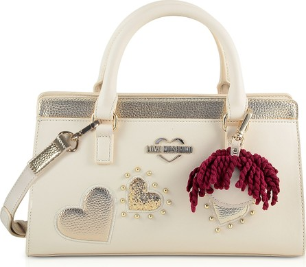 Love Moschino Ivory & Gold Eco Leather Small Tote Bag w/Charm