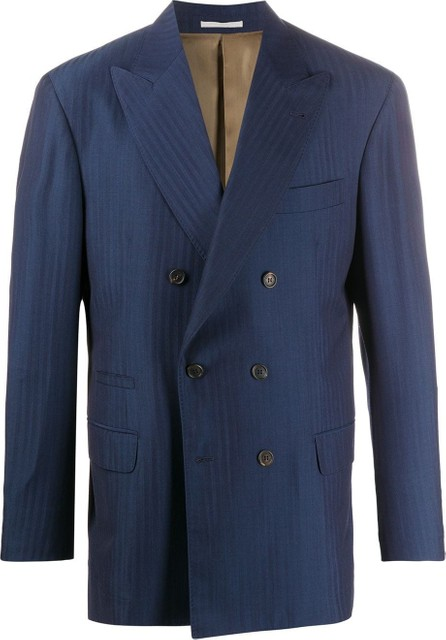 Brunello Cucinelli Double-breasted striped suit jacket