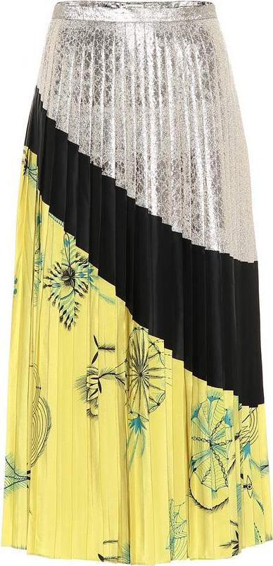 Dries Van Noten Pleated silk skirt
