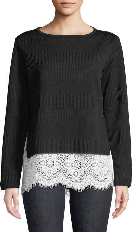 Finley Wendy Round-Neck Long-Sleeve Rib-Knit Sweater w/ Lace Hem