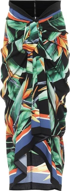 Dolce & Gabbana Printed stretch-silk wrap skirt