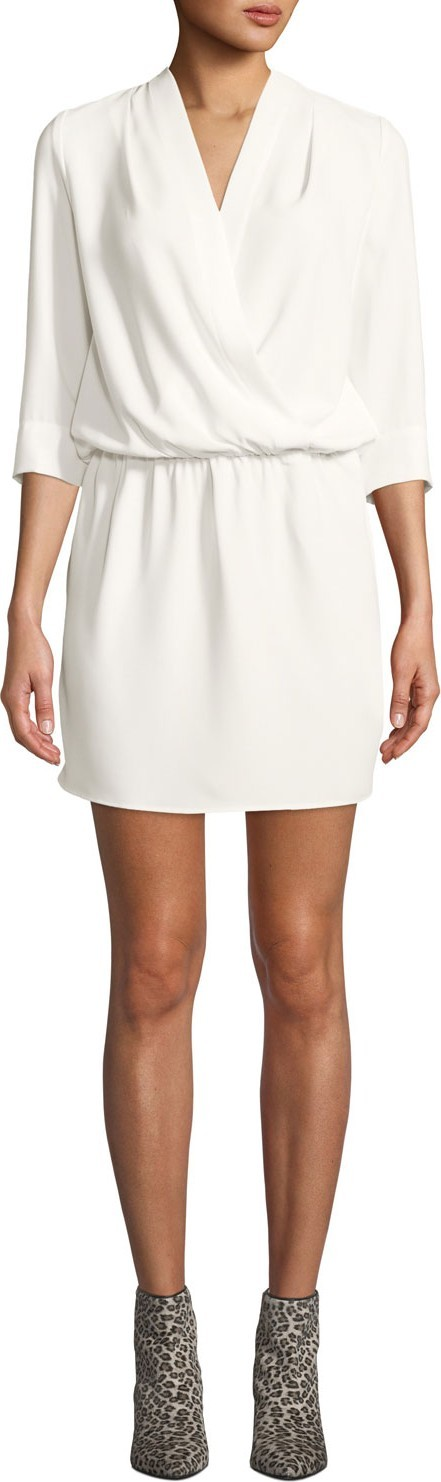 Amanda Uprichard Venus Draped 3/4-Sleeve Mini Dress