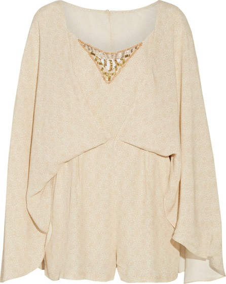 Camilla Cape-effect embellished printed crepe playsuit