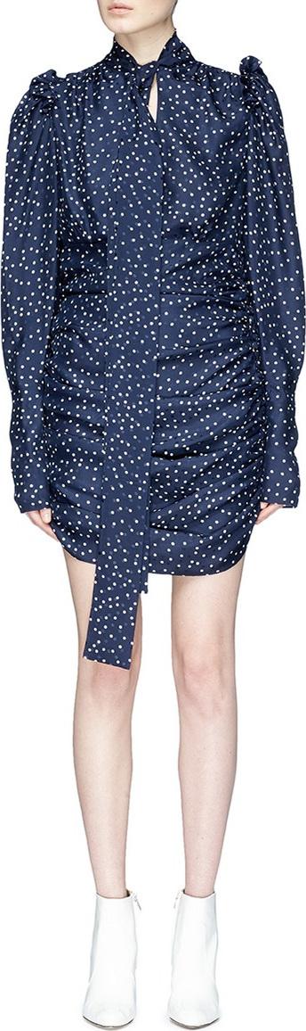 'Kartagena' tie neck polka dot print ruched dress