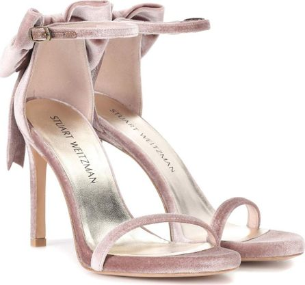 Stuart Weitzman My Bow velvet sandals