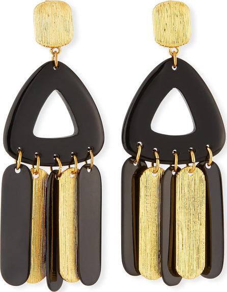 NEST Jewelry Horn & Brushed Golden Metal Dangle Earrings