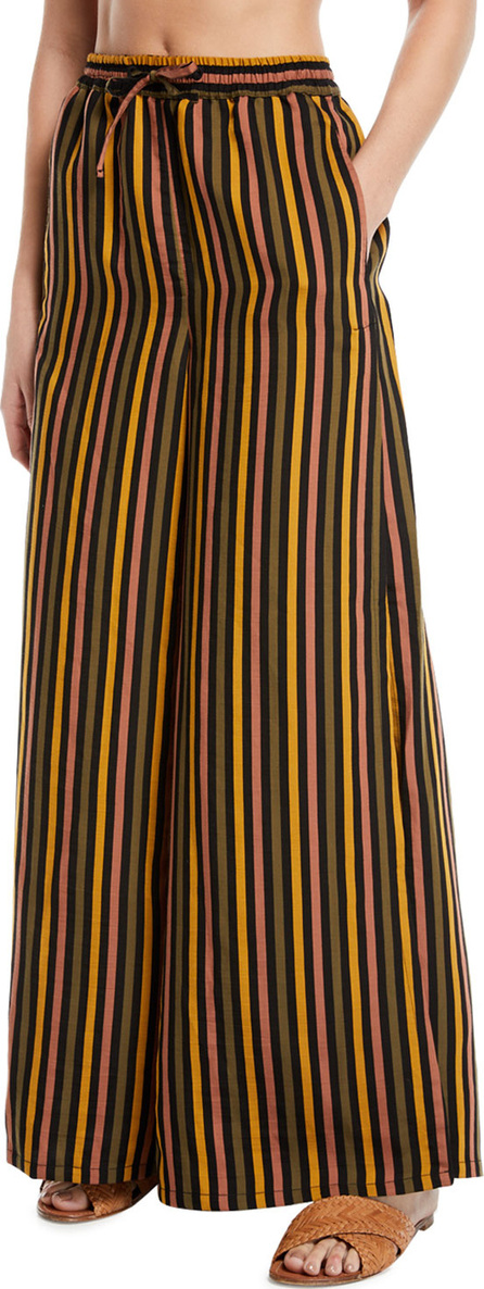 Onia Chloe Striped Wide-Leg Coverup Beach Pants with Pockets