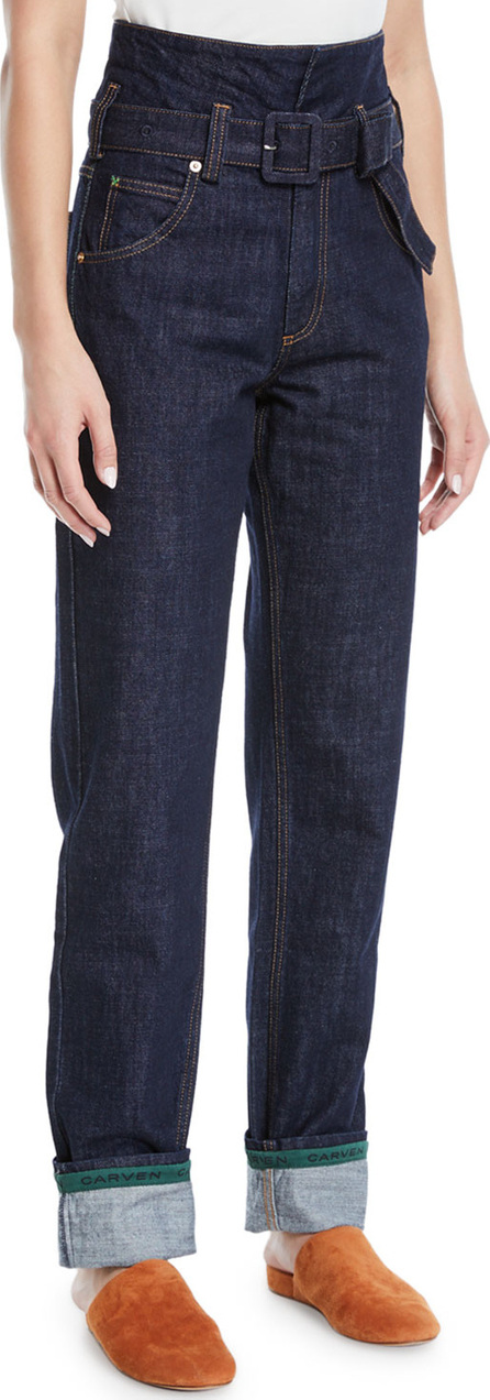 Carven Belted High-Waist Straight-Leg Jeans