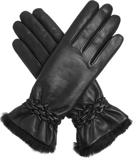 Agnelle Rabbit fur-trimmed leather gloves