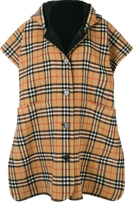Burberry London England Reversible Vintage Check Hooded Poncho