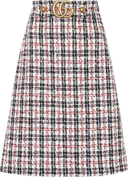 Gucci Plaid cotton-blend tweed skirt