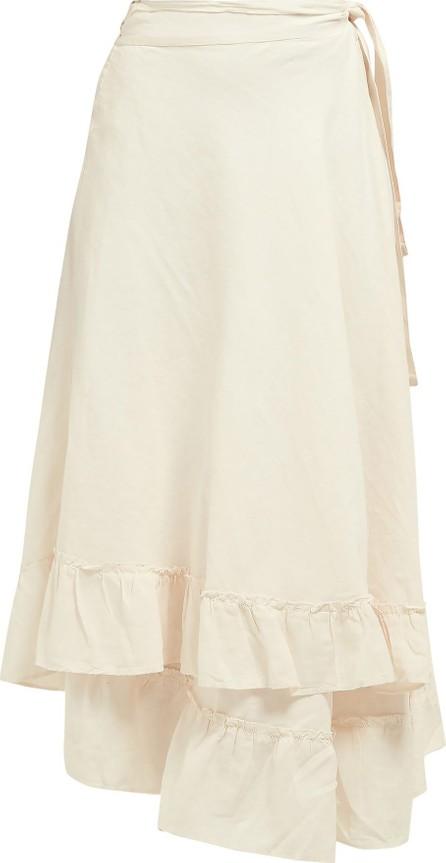 APIECE APART Feliz frill-trimmed wrap linen-blend midi skirt
