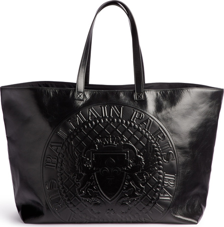 Balmain Embossed Coin Calfskin Leather Shopper