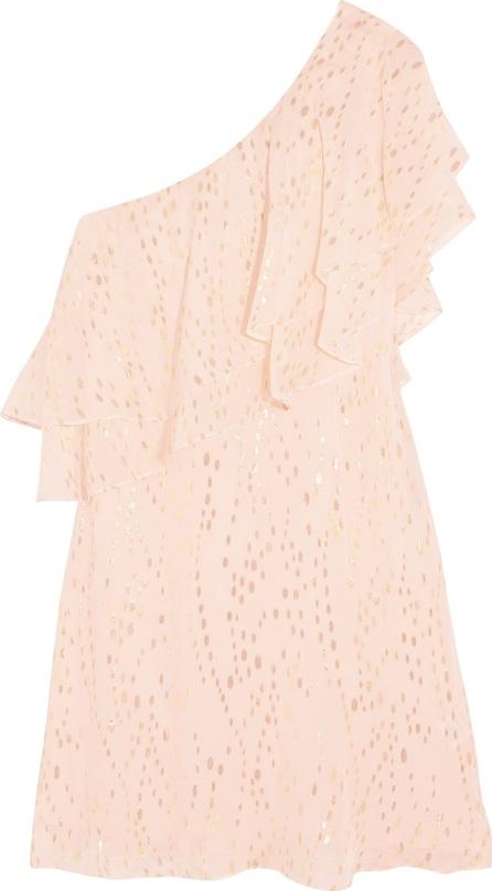 Rachel Zoe Leigh one-shoulder ruffled metallic silk-blend chiffon mini dress