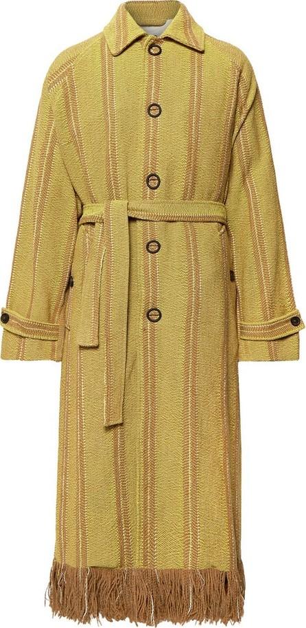 Acne Studios Oversized Fringed Striped Woven Coat
