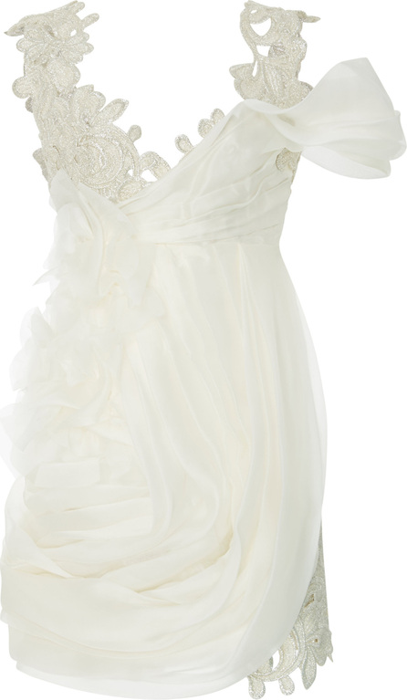 Ermanno Scervino Embroidered Lace Draped Mini Dress