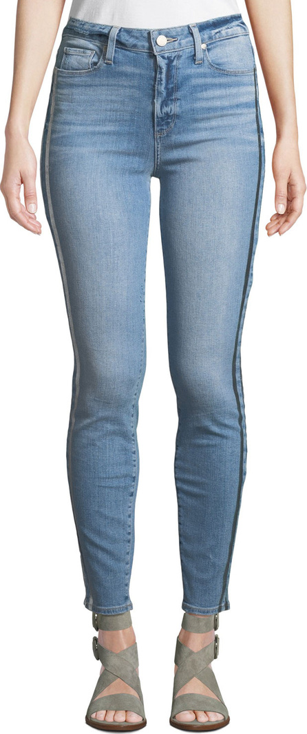 PAIGE Hoxton Ankle Skinny Jeans w/ Racing Stripes