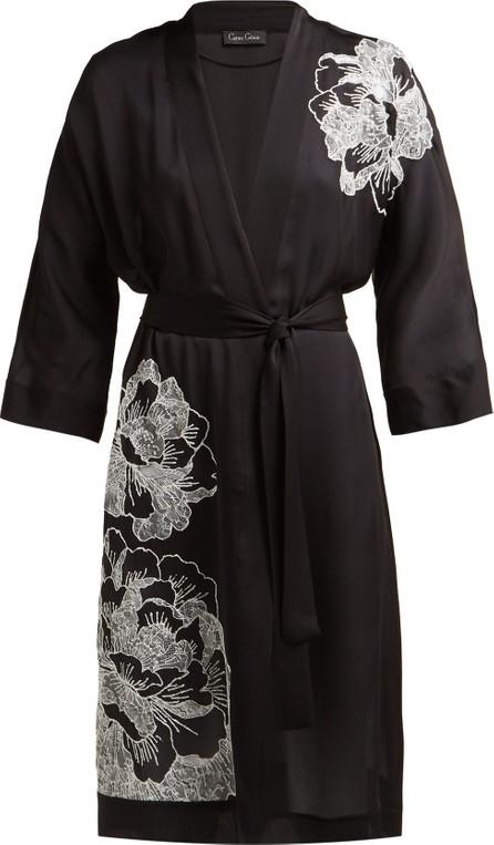 CARINE GILSON Floral-embroidered silk-satin robe