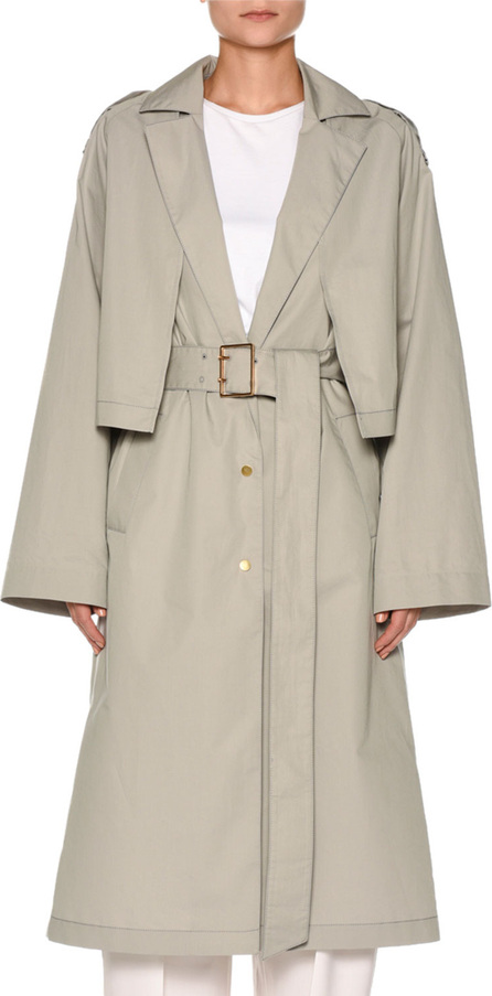 Agnona Snap-Front Belted Cotton-Silk Trench Coat with Cape Detail
