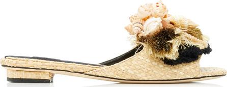 Sanayi 313 Iris Seashell-Embellished Tasseled Raffia Slides