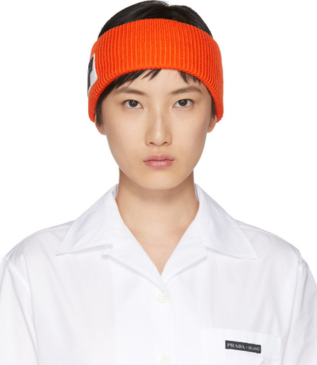 Prada Orange Wool Logo Headband