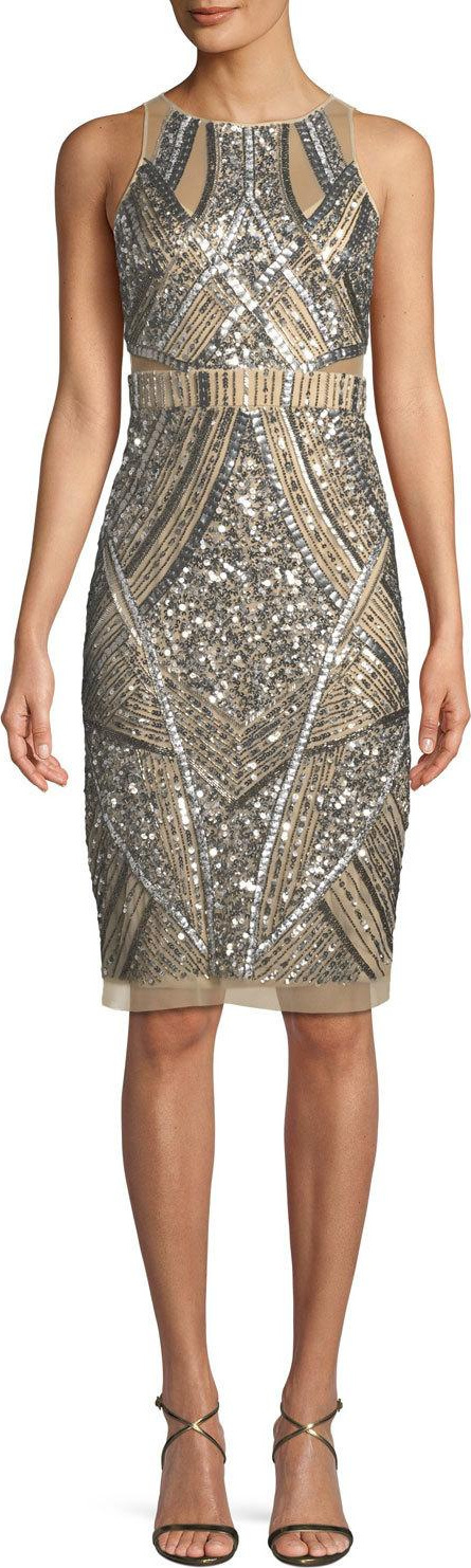 Aidan Mattox Sleeveless Geometric Beaded Sheath Cocktail Dress