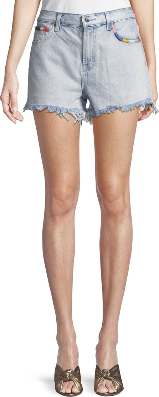 Splendid Amore Embroidered Denim Cutoff Shorts