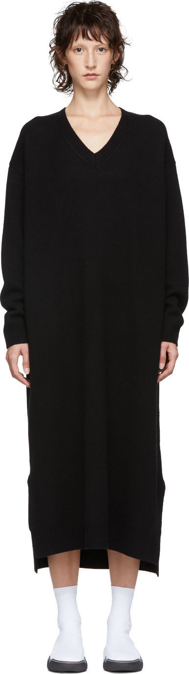 Enfold Black Wool V-Neck Dress