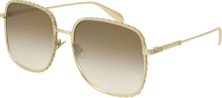 Alexander McQueen Square Gradient Sunglasses w/ Crystal Trim