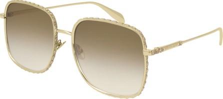 Alexander McQueen Square Gradient Sunglasses w/ Crystal Trim