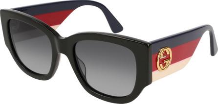 Gucci Oversized Rectangle Sunglasses w/ Striped Arms, Black