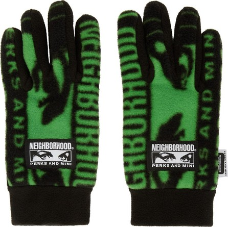 Perks and Mini Black & Green Neighborhood Edition Fleece Gloves