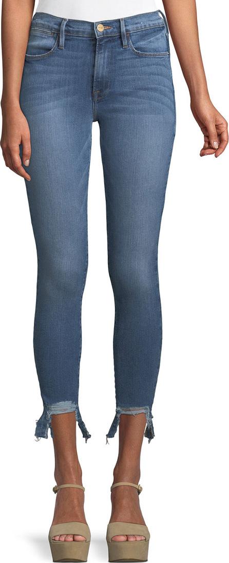 FRAME DENIM Le High Skinny Stiletto Frayed Cropped Jeans