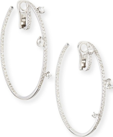 Staurino Fratelli 18k White Gold Spaghetti Diamond Hoop Earrings, 2.2 cts