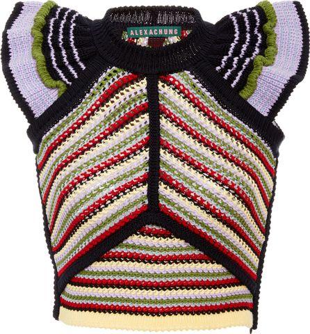 Alexachung Crochet-Knit Cotton-Blend Top