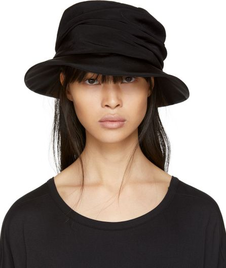 Y's By Yohji Yamamoto Black Drape Cloche Hat