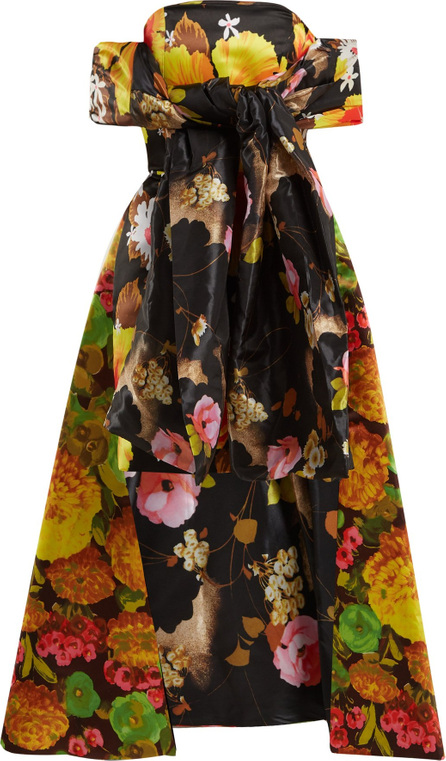 Richard Quinn Floral-print off-the-shoulder dress